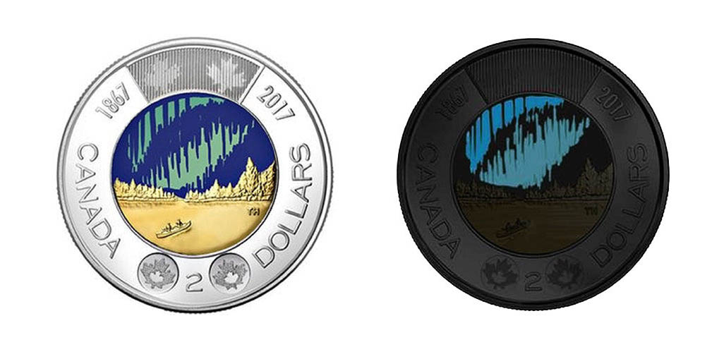 2 доллара: Монета, светящаяся в темноте