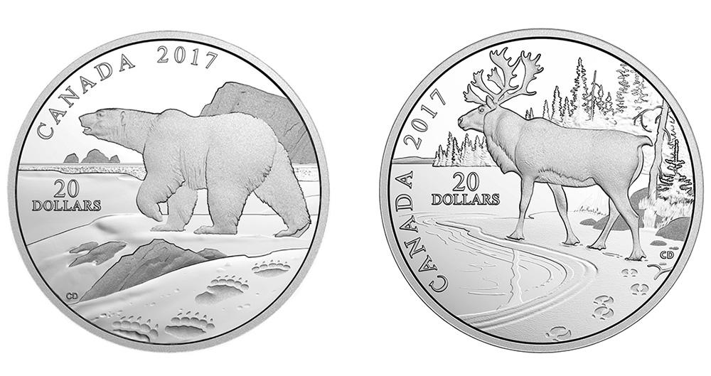 Волк на 20 долларах Канады