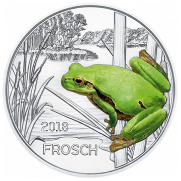 Зеленая лягушка на 3 евро Австрии
