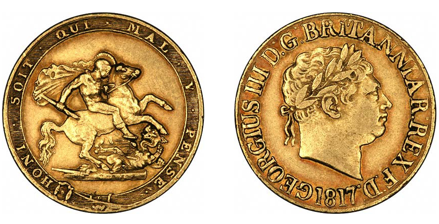 В Англии переиздали соверены 1817 года