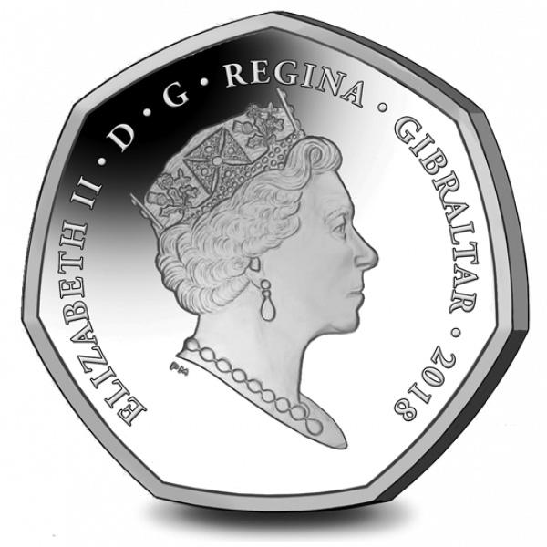 50 пенсов Гибралтара к Рождеству 2018