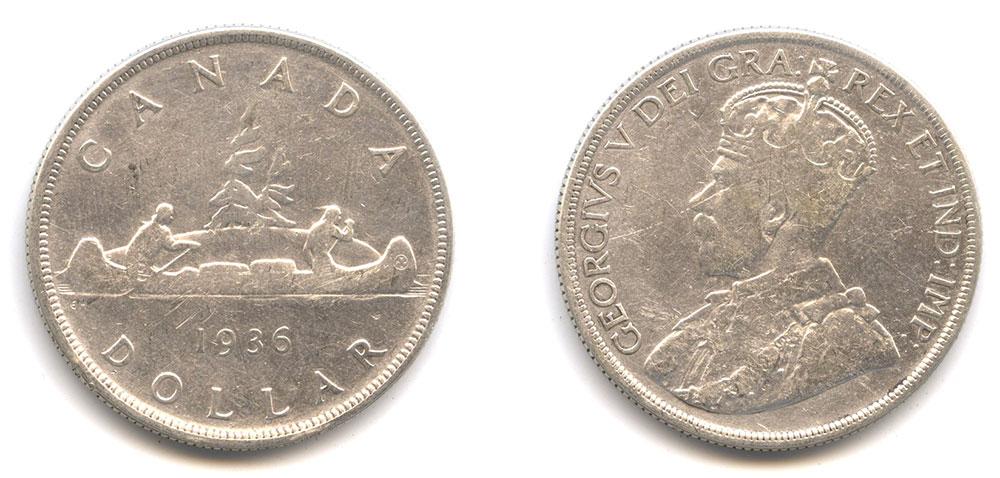Кто изображен на канадском долларе 1935-1986 годов выпуска?