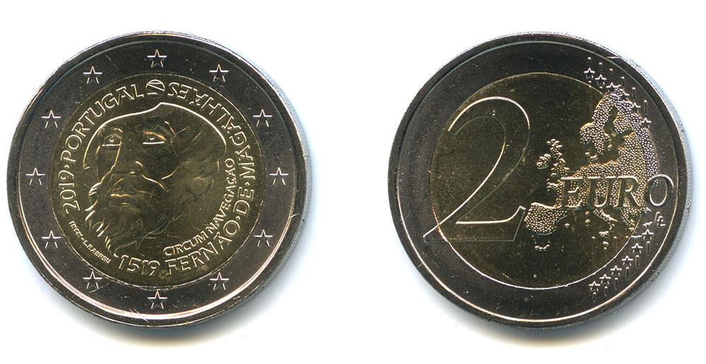 2 евро в честь кругосветного плавания Магеллана