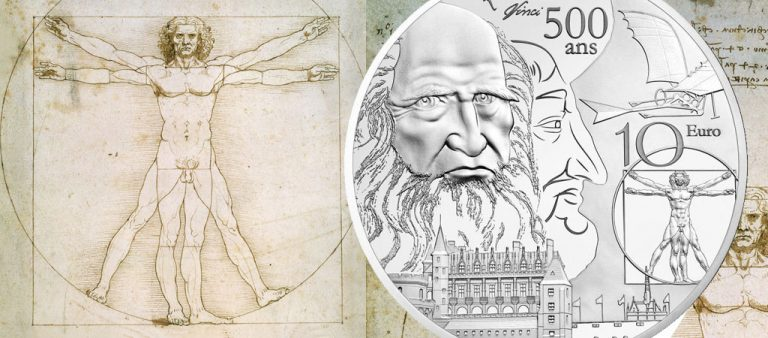 Новые евро Франции с портретом Леонардо да Винчи