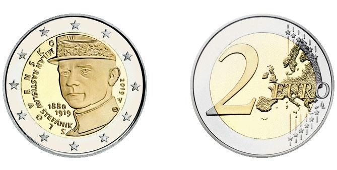 Словакия: 2 евро в память о Милане Штефанике