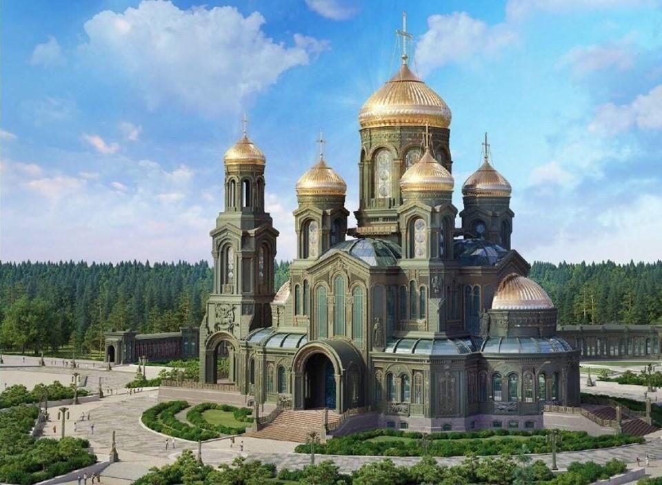 3 рубля «Комплекс Храма Воскресения Христова» с изображением мемориала «Дорога Памяти»